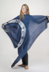 TIE-DYED KALAGAI SQUARE IN DENIM, NAVY & IVORY