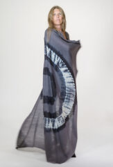 TIE-DYED KALAGAI SQUARE IN NIGHTSHADE, BLACK & IVORY