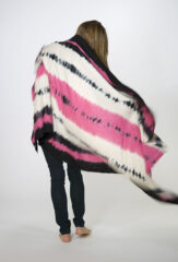 TRICOLORE SHAWL IN FUR BROWN, BARRAGAN PINK & IVORY
