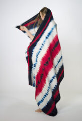 TRICOLORE SHAWL IN NAVY, CHAY, & IVORY