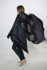 BANDED DIVIDED HEARTS SHAWL IN DARK NAVY & IVORY