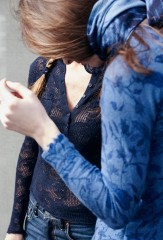 LACE HENLEY IN TRUE NAVY; CHINTZ FRAYED JEWELNECK IN SOFT DENIM WITH BLUES; LINEN SHOCKWAVE SHAWL IN BLUES