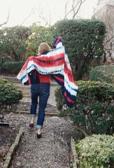 TRICOLORE SHAWL IN NAVY, CHAY & IVORY; MINI DIAMONDS PULLOVER IN CORAL