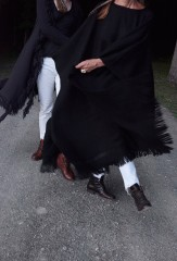 LONG HERRINGBONE PONCHO IN BLACK; RASTA DUSTER IN PEAT