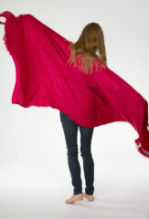 SGUGU SHAWL WITH POP TASSEL IN CHAY & HOT PINK
