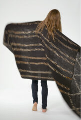 MALI DIAMONDS & STRIPES THROW IN FUR BROWN & IVORY
