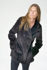 THE PEACOAT IN MIDNIGHT SHEARED MINK