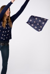 XOXO POCKET SQUARE IN DARK NAVY & IVORY