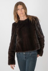 REVERSIBLE MINK PULLOVER WITH HAND TIE DYED LINING