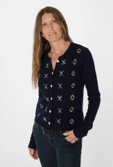 XOXO GARZA CARDIGAN IN DARK NAVY & CHALK