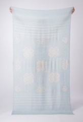 BANDED DIVIDED HEARTS SHAWL IN SKY BLUE & IVORY