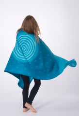 WOOL SHADED MARGHERITA SHAWL IN TURQUOISE