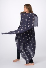 LINEN XOXO SHAWL IN DARK NAVY & IVORY