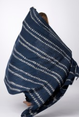 MALI DIAMONDS & STRIPES THROW IN BLACK TEAL & IVORY