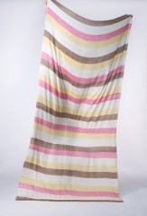 STRIPED KANI SHAMINA IN IVORY, HOT PINK, TOBACCO & SAFFRON