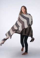 AIT ATTA SHAWL IN NATURAL BROWN, BLACK IRIS & FUR BROWN