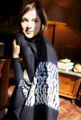 ZEBRA BORDER SHAWL IN DARK NAVY & IVORY; HAJJAJ PULLOVER