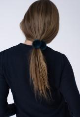 MINK HAIR TIE IN BLACK TEAL
