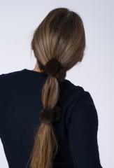 MINK HAIR TIES IN NATURAL MAHOGANY