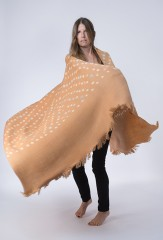 POLKA DOT SHAWL IN MARRON GLACE, IVORY & PASTELS