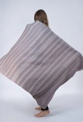 WOOL ALL OVER BANDED HERRINGBONE SHAWL IN BIKANER LAVENDER & IVORY