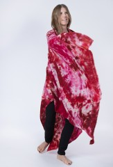 INK STAIN SHAWL IN PINKS & REDS 100% CASHMERE, HAND PAINTED