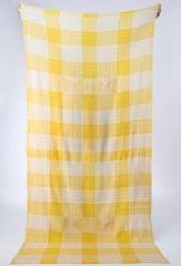 WINDOWPANE SHAWL IN LEMON & IVORY