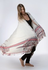 AFAGGOU SHAWL IN NATURAL IVORY WITH REDS & BLUES
