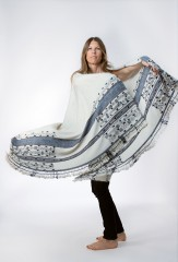 AFAGGOU SHAWL IN NATURAL IVORY WITH BLUES & FUR BROWN
