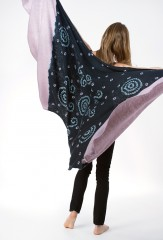 SHADED CIRCLES SHAWL IN BLACK, BIKANER LAVENDER & IVORY