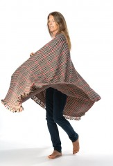 HACKING PLAID SHAWL IN HONEY, DARK NAVY, CHAY & FUR BROWN  100% CASHMERE, YARN DYED