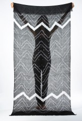 ZIG ZAG SHAWL IN BLACK & IVORY 100% LINEN, HAND TIE-DYED
