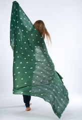 ALL OVER DOTS EL MELHFA KALAGAI THROW IN FIR & IVORY     100% CASHMERE, HAND TIE-DYED