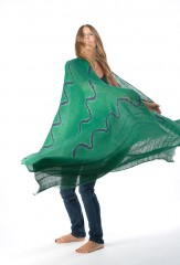 LEHARIYA SHAWL IN EMERALD & BLACK TEAL 100% LINEN, HAND TIE-DYED