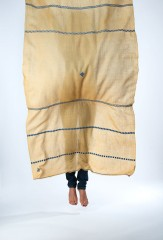 AMAZIGH SHAMINA IN ORPIMENT & DENIM  100% CASHMERE, HAND EMBROIDERED