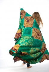 DIAMONDS SHAWL IN MALACHITE, BORDEAUX & TOBACCO 100% CASHMERE, HAND TIE DYED