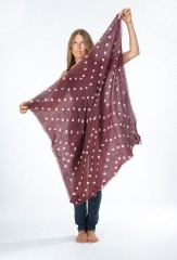 AZTEC SHAMINA SQAURE IN MULBERRY & IVORY  100% CASHMERE, HAND TIE DYED