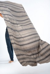 TISFRIOUDINE SHAWL IN NATURAL BROWN & DARK NAVY 100% CASHMERE, YARN DYED & HAND EMBROIDERED