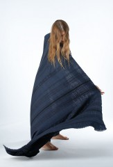 TISFRIOUDINE SHAWL IN BLACK TEAL & BLACK  100% CASHMERE, YARN DYED & HAND EMBROIDERED