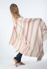 TISFRIOUDINE SHAWL IN IVORY & CHAY 100% CASHMERE, YARN DYED & HAND EMBROIDERED