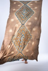 KITE SHAWL IN CAMEL, HONEY, TEAL & IVORY  100% CASHMERE, HAND TIE DYED