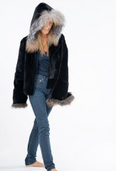 MARGHERITA ANORAK IN MIDNIGHT, ROVALIA MINK & FAWN LIGHT FOX WITH HAND TIE DYED 100% SILK CHARMEUSE LINING