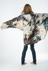 INK STAIN SHAWL IN FUR BROWN, BLACK & TAUPE 100% CASHMERE, HAND PAINTED