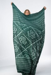 BANDED DIAMONDS AND FLOWERS SHAWL IN FIR & IVORY  100% CASHMERE, HAND TIE DYED