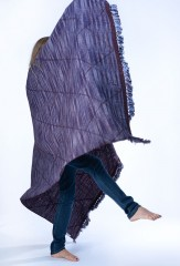 SGUGU SHAWL IN BORDEAUX, DENIM & SLATE   100% CASHMERE SPACE DYED & HAND EMBROIDERED