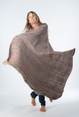 SGUGU SHAWL IN NATURAL BROWN, DARK NAVY & CHAY 100% CASHMERE, SPACE DYED & HAND EMBROIDERED