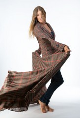 PLAID HACKING JACKET IN HONEY, PIRATE, EBONY & LA SCALA  100% CASHMERE  HACKING PLAID SHAWL IN HONEY, DARK NAVY, CHAY & FUR BROWN  100% CASHMERE, YARN DYED
