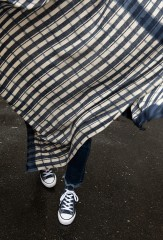 MALI YARN DYED STRIPES THROW IN DARK NAVY & IVORY 100% CASHMERE, YARN DYED & HAND PAINTED
