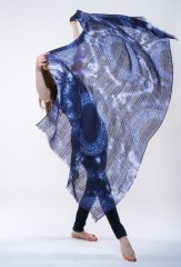 LINEN SUNFLOWER SHAWL IN DARK NAVY & IVORY  100% LINEN, HAND TIE-DYED