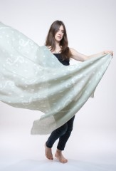 LINEN CLEF SHAWL IN PALE SAGE & IVORY 100% LINEN, HAND TIE-DYED